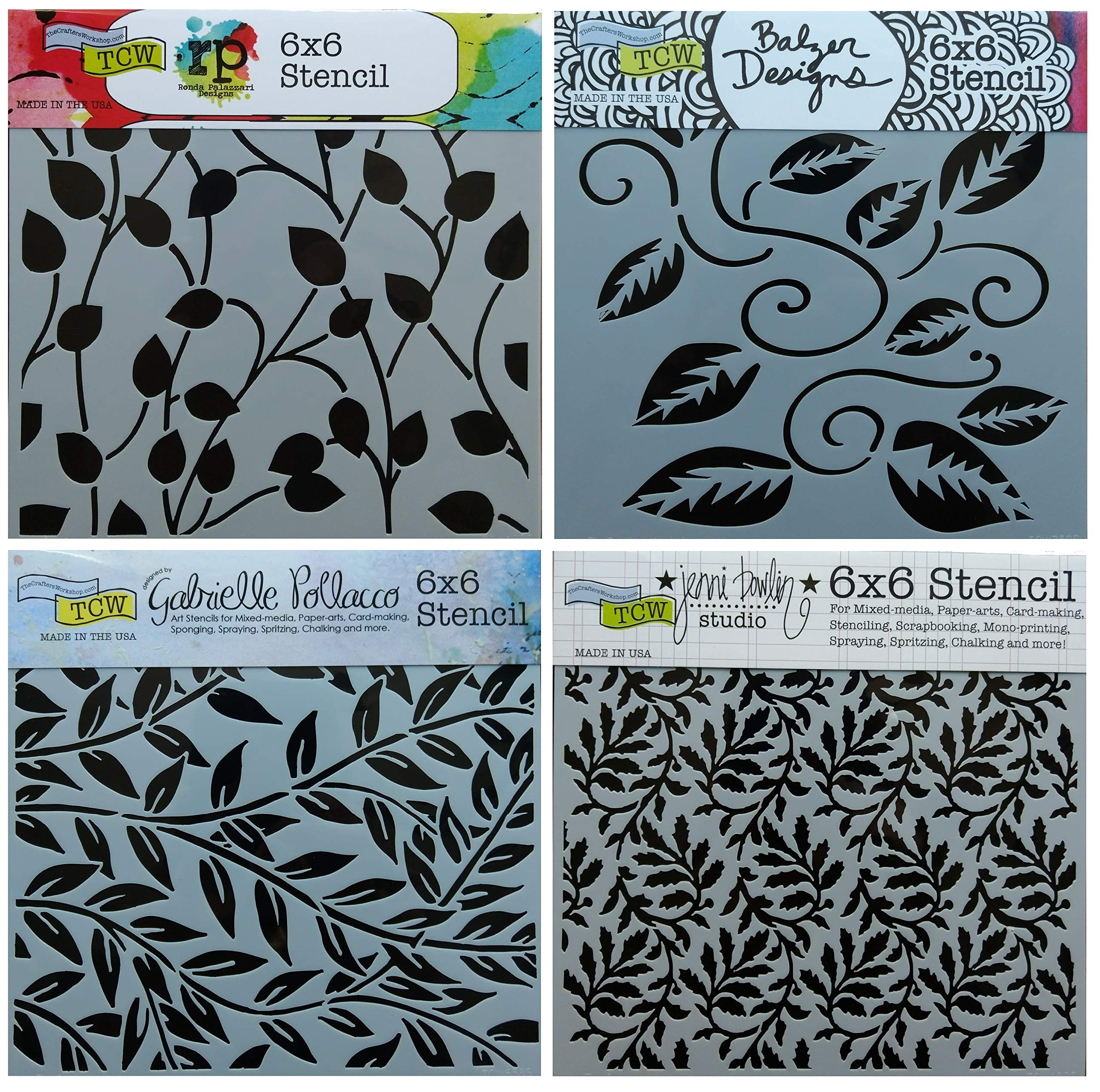 4 Crafters Workshop Stencils   Vine, Vineyard, Leaf, Climbing Vines Designs   Mixed Media Stencils Set Includes 6 Inch x 6 Inch Templates for Painting, Arts, Card Making, Journaling, Scrapbooking