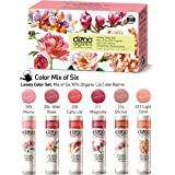 Lovely Set (6 pack). Mix of Six Organic Lip Colour Balms. 90% organic ingredients. Protective, Moisturizing (USDA certified ingredients)