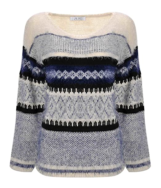 ZLYC Women Fluffy Aztec Space Dye Knitted Pullover Jumper Geometric ...