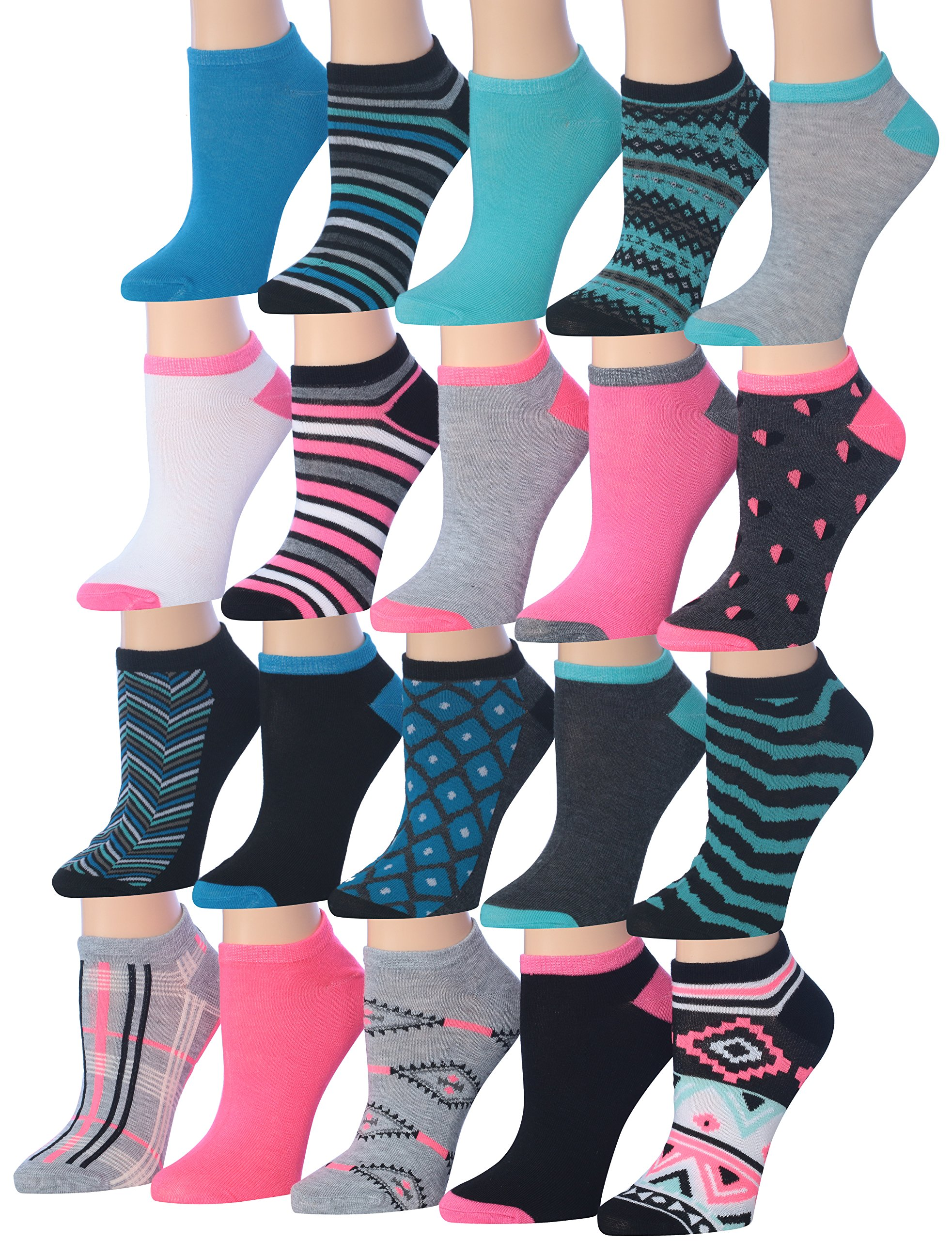 Tipi Toe Women's 20 Pairs Colorful Patterned Low Cut / No Show Socks, (sock size9-11) Fits shoe size 6-12, WL08-AB