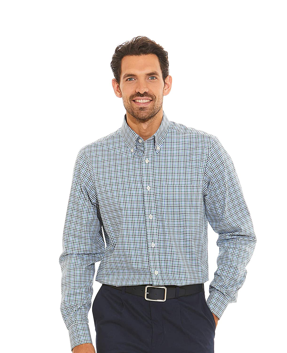 Savile Row Company Men's Green Blue Navy Twill Check Classic Fit Button-Down Casual Shirt