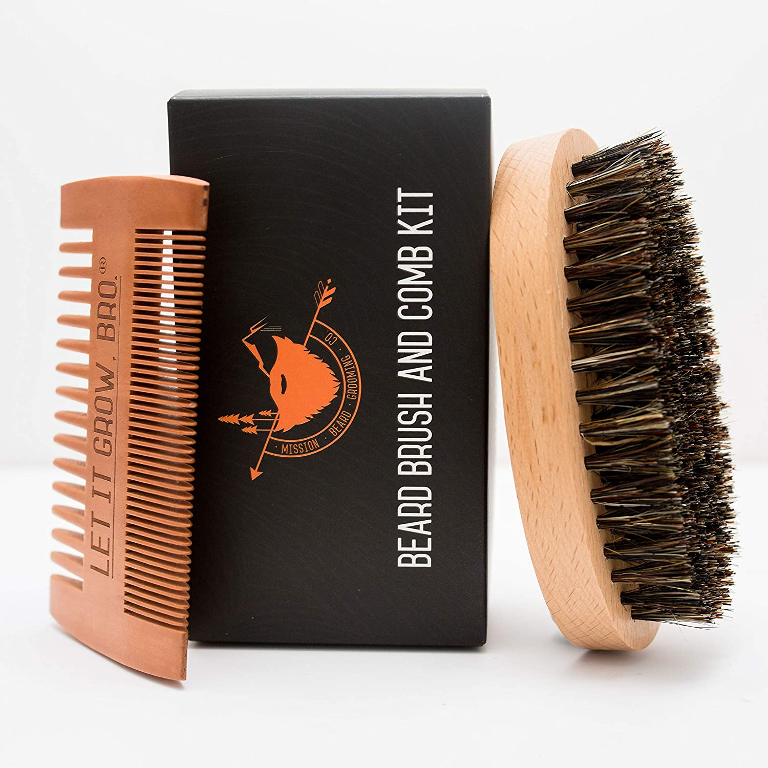 MISSION BEARD GROOMING CO. 100% Boar Bristle Beard Brush & Comb Kit - Exfoliates Skin, Tames The Wildest Beards & Promotes Beard Growth