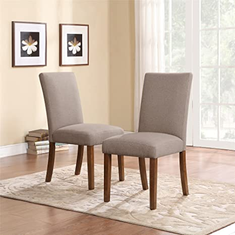 Dorel Living Linen Upholstered Parsons Chairs Set Of 2 Taupe Pine Home Kitchen