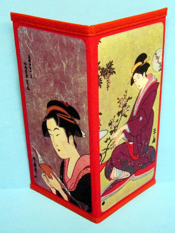 SET of 2 Japanese Rice Paper Wallet Two-Fold Geisha Book Bonsai Made in Japan