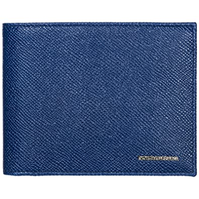 a8dda505b7d7 Amazon.com: Dolce & Gabbana Men's Blue Leather Bi-fold Wallet BP0457 ...