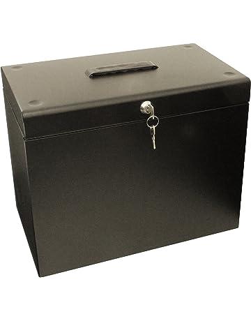 Cathedral Caja archivadora de metal, tamaño A4, color negro
