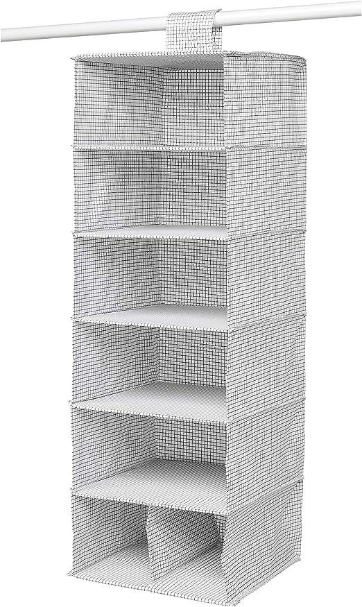 MBI - Caja de almacenaje con 7 Compartimentos, Color Blanco y Gris, tamaño montado: 30 x 30 x 90 cm: Amazon.es: Hogar