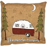 """Country House Collection Primitive Funny Burlap Jute 8"""" x 8"""" Throw Pillow (I'd Rather Be Camping)"""