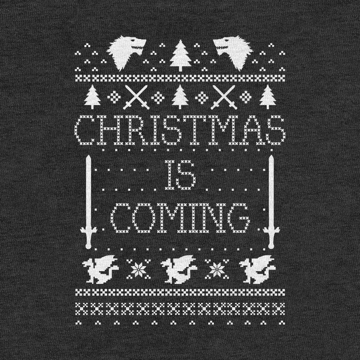 Green Turtle T-Shirts Christmas is Coming Weihnachtspullover M/änner f/ür GOT Fans Sweatshirt