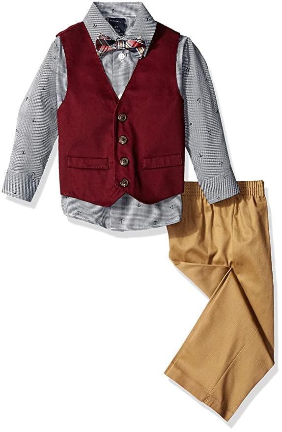 Kids 1950s Clothing & Costumes: Girls, Boys, Toddlers Nautica Boys Four-Piece Solid Twill Vest Set with Bow Tie $44.99 AT vintagedancer.com