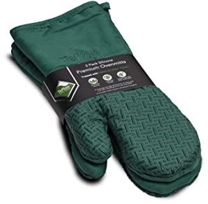 XLNT Green Premium Non Slip Silicone Oven Mitts, Heat Resistant, with Teflon Eco Elite Finish, Hanging Loop, Great for Home Baker Or Commercial Chef Use