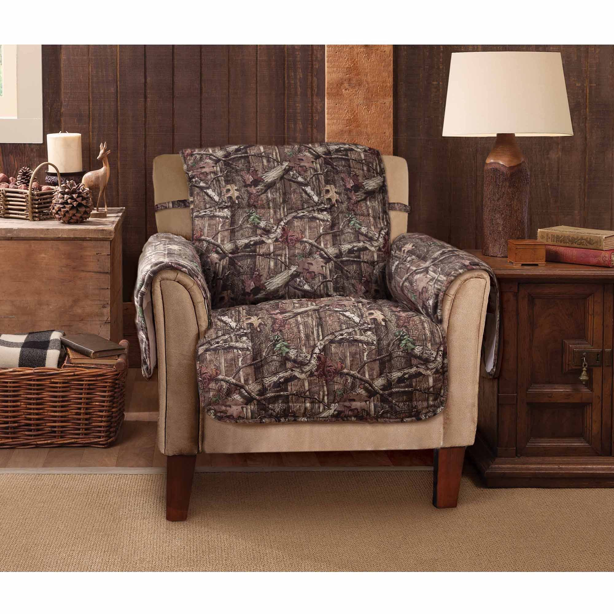 MN 1 Piece Grey Brown Hunting Theme Chair Protector, Camouflage Cabin Lodge House Hunt Camo Pattern Woods Cottage Tree Branches Furniture Protection Cover Pets Animals Covers, Polyester
