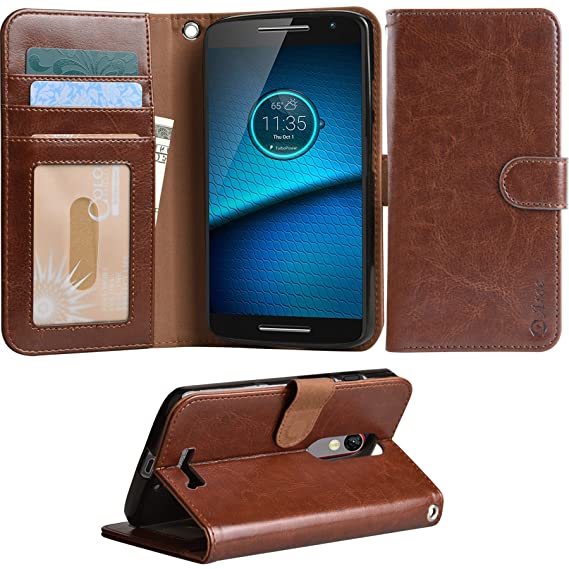 Droid Turbo 2 Case, Arae Motorola moto X force wallet case, [Wrist Strap