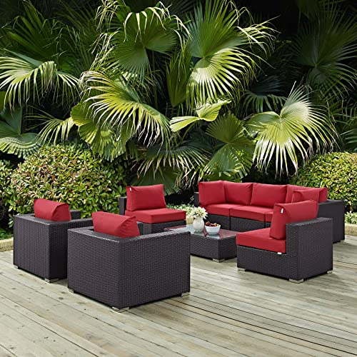 Modway Convene Wicker Rattan 8-Piece Outdoor Patio Sectional Sofa Furniture Set in Espresso Red