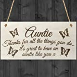 Red Ocean Auntie Thanks For All The Things You Do It's Great To Have An Auntie Like You Wooden Hanging Plaque Sign Love Gift