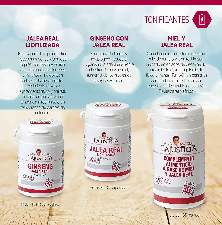 Ana Maria Lajusticia - Ginseng con jalea real – 60 cápsulas reduce el cansancio y la fatiga, refuerza el sistema inmunitario. Envase para 60 días de ...