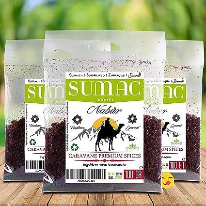 Zumaque por Nabür - 100 Gr Gourmet - En Polvo, Afrutado, orgánico - Una especia fresca y fragante, perfecto para sus preparaciones y condimentos: Amazon.es: ...