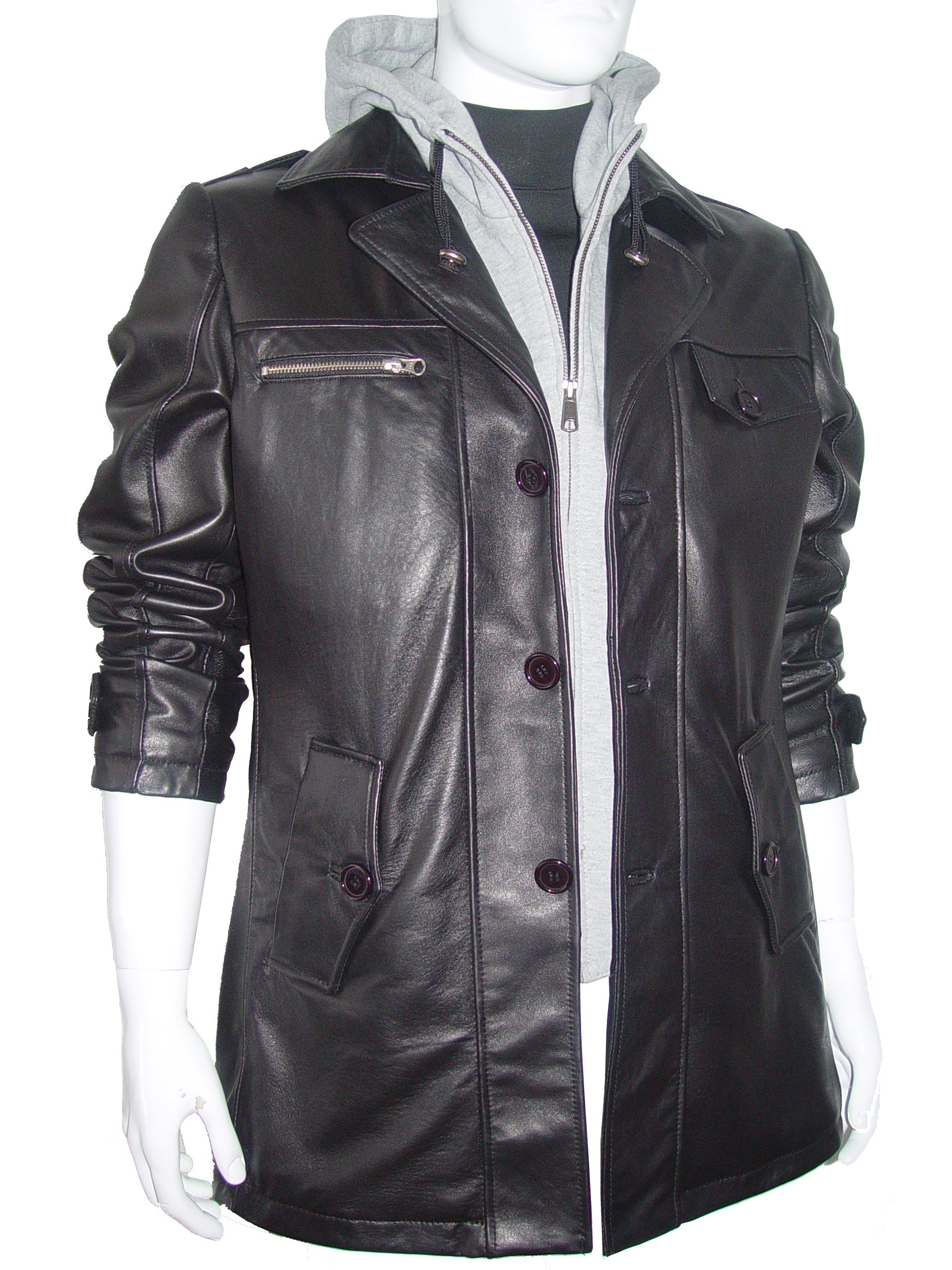 Paccilo 2016 Fitted Cool Fine Clean Mens Black Leather Coat Business Clothing
