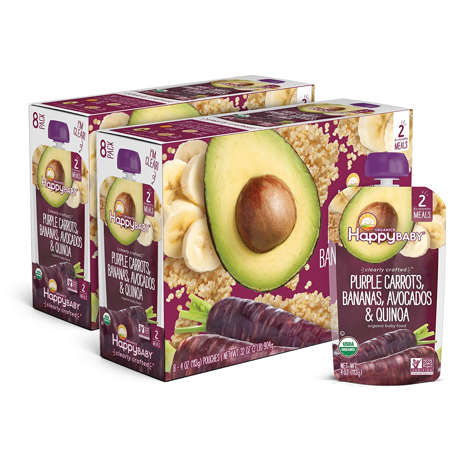 Happy Family Happy Baby Organic Clearly Crafted Stage 2 Baby Food Purple Carrots, Bananas, Avocados & Quinoa, 64 oz (Pack of 16)