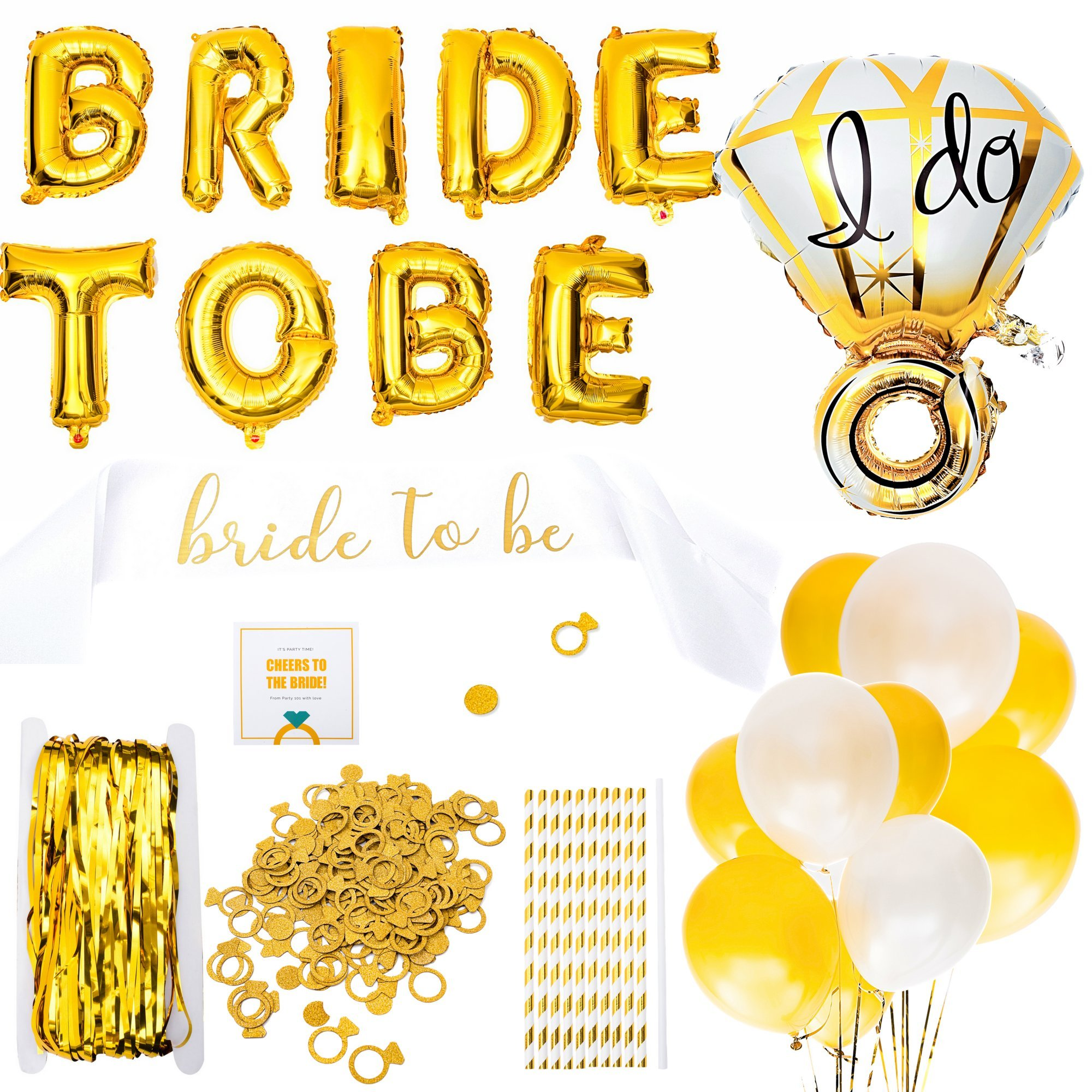 Bachelorette Party Decorations - Party Supplies for Bridal Showers | Engagement Party Accessories | Latex + Ring Foil Balloons, Bride to Be Sash, Glitter Confetti, Straws | Gold & White Themed Kit