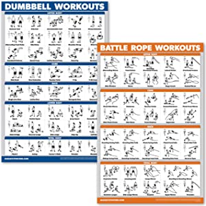 QuickFit 2 Pack Dumbbell Workouts & Battle Rope Exercise Poster Set - Laminated 2 Chart Set - Dumbbell Exercise Routine and Battlerope Workouts