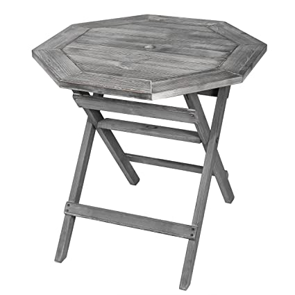 Rustic Barnwood Gray Pine Wood Folding Octagonal 30 Inch Patio Accent Bistro  Table With Umbrella