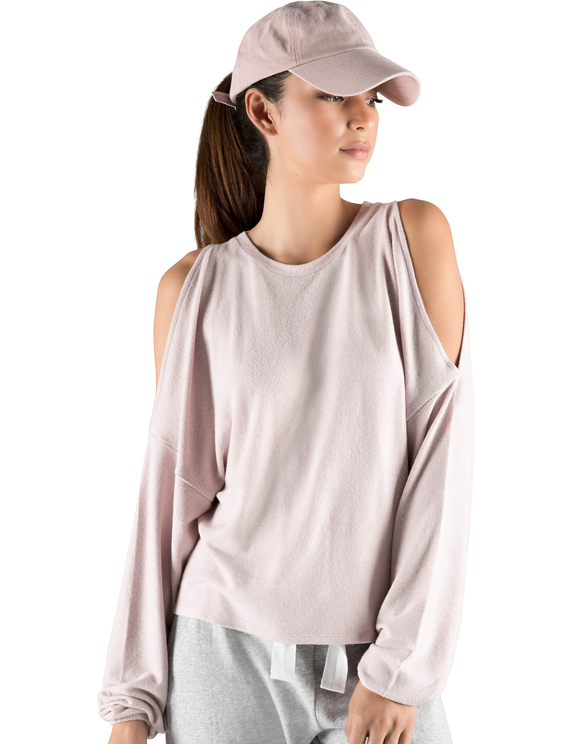 Rebel Canyon Young Women's Super Soft Brushed Jersey Long Sleeve Cold Shoulder Sweater Top with Cinched Sleeves X-Small Mauve