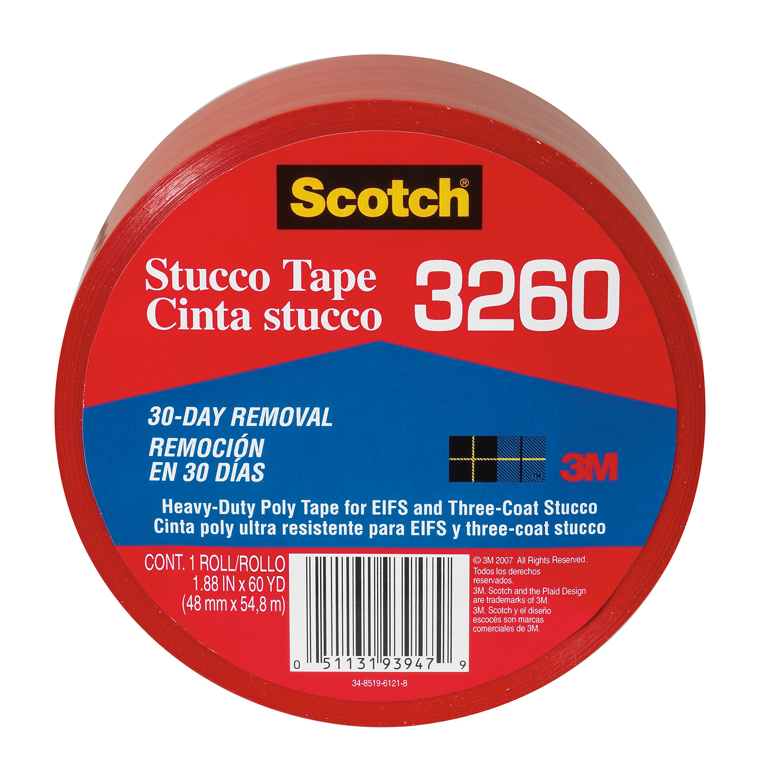 Scotch Stucco Tape, 3260-A, 1.88-Inch by 60-Yards, 1 Roll