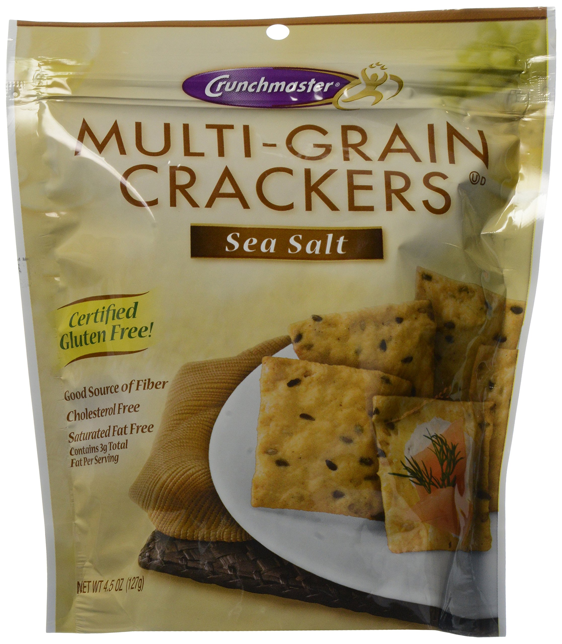 Crunchmaster Multi-Grain Crackers, Sea Salt, 4.5 Ounce (Pack of 6) by Crunchmaster