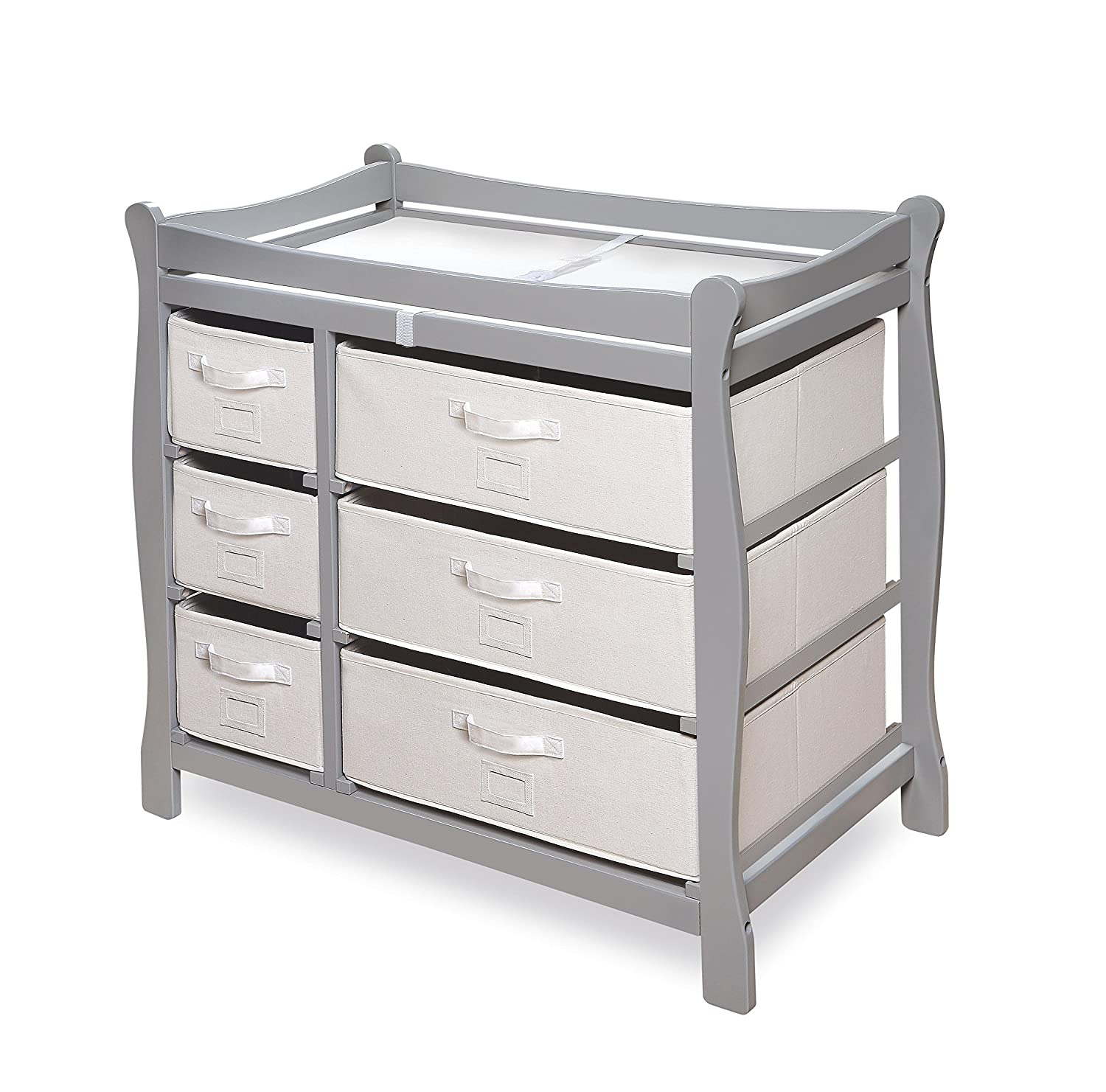 Exceptional Amazon.com : Badger Basket Sleigh Style Changing Table With Six Baskets,  Gray : Baby