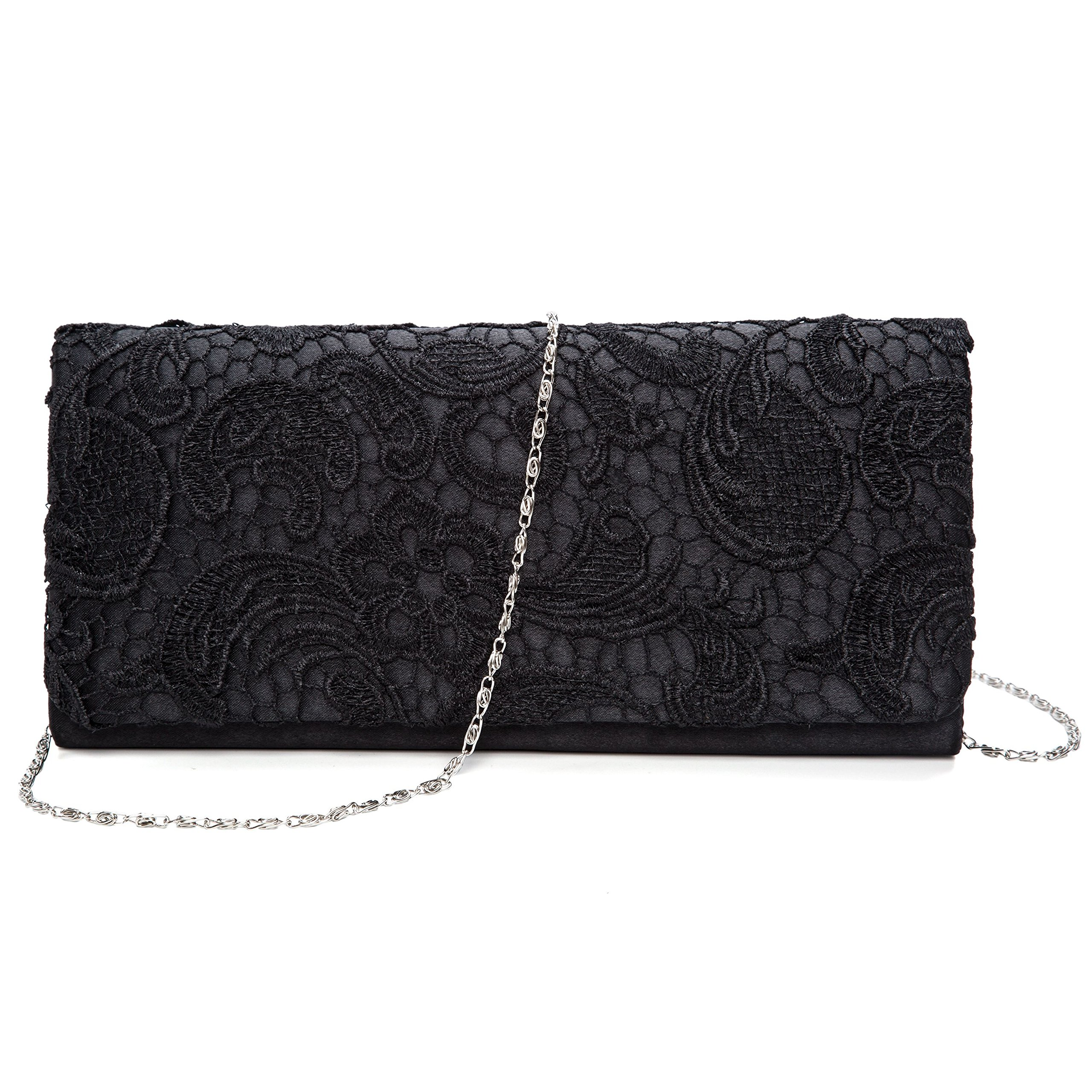 Kaever Women's Lace Floral Clutches Evening Bags Purse for Wedding Party Handbags (Black) by Kaever