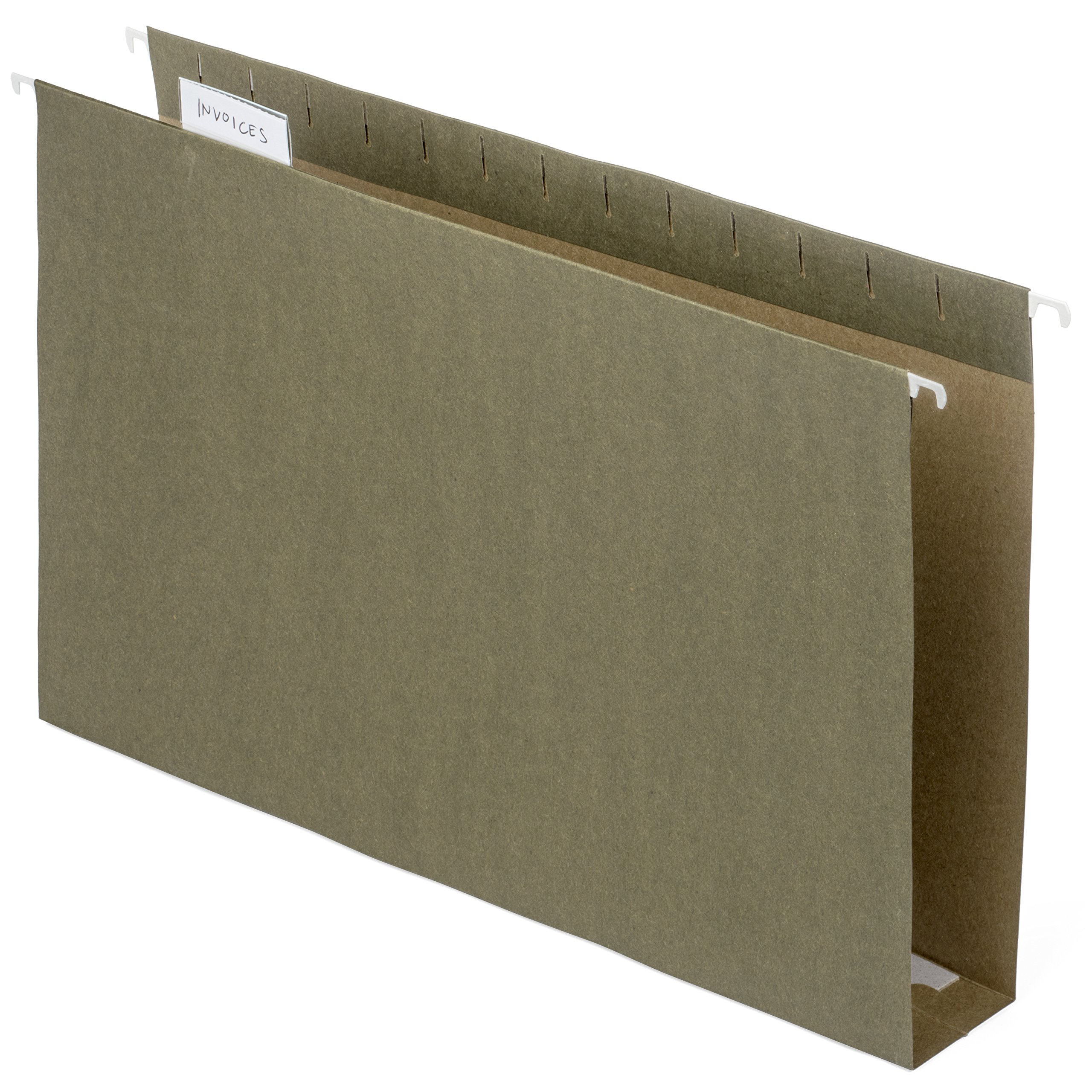Blue Summit Supplies Extra Capacity Hanging File Folders, Heavy Duty, 2'' Expansion Filing Folders, 1/5 Tab, for Bulky Files, Legal Charts, Manuals, Standard Green, LEGAL Size, 25 Pack