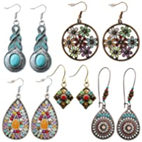 Bohemian Vintage Dangle Earrings for Women Girls Ethnic National Style Petal Beaded Statement Hollow Water Drop Shaped...