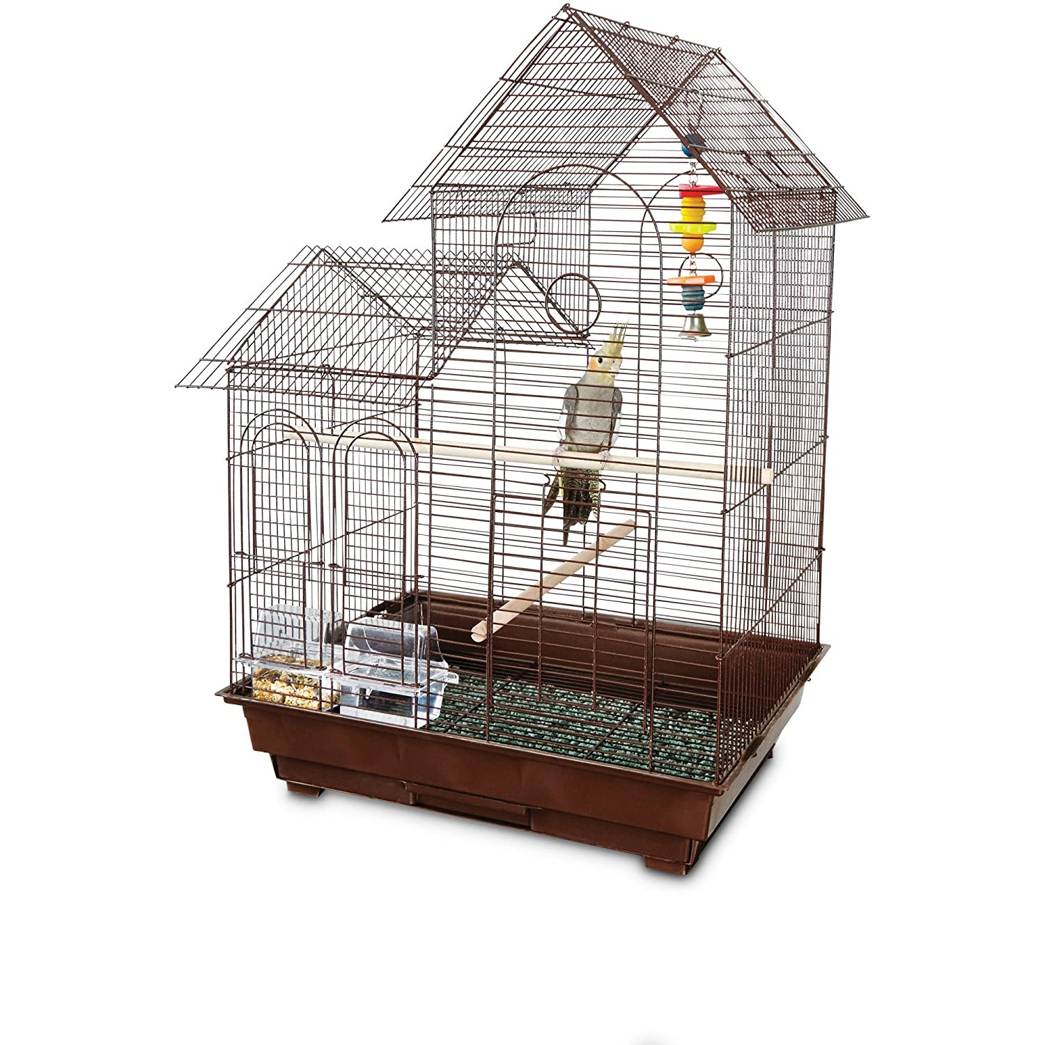You& Me Cockatiel Ranch House Cage Brown You & Me