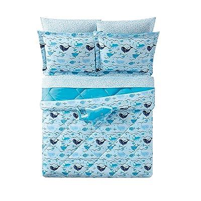 2 Piece Kids Blue Underwater Animal Wave Themed Comforter Twin Xl
