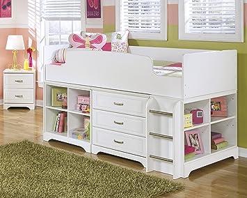 Lulu Soft White Twin Size Wood Loft Bed W/ Storage Drawers U0026 Bookshelf