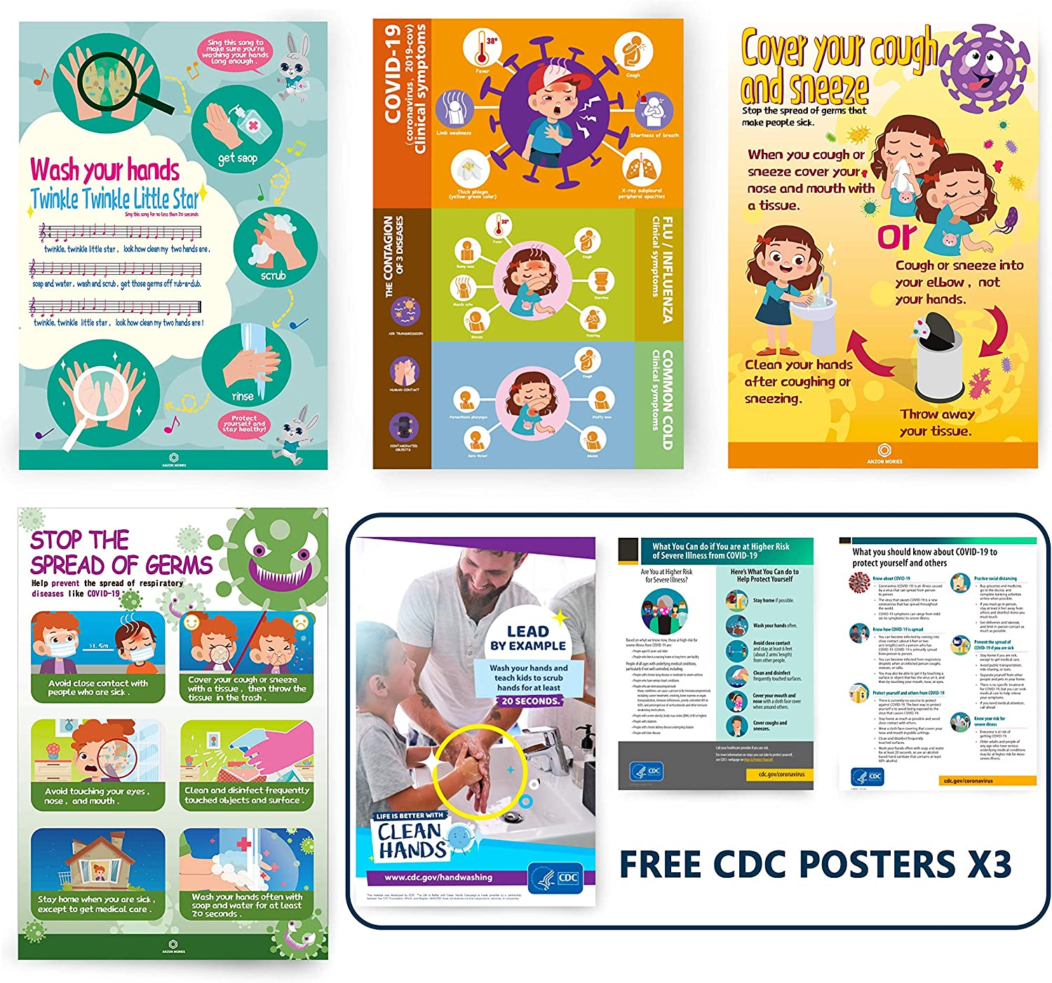 """ANZON MORIES Posters 4 Packs, Safety Reminders for Kids, Hand Washing Wall Posters 11""""x 22"""" for Workplace, School"""