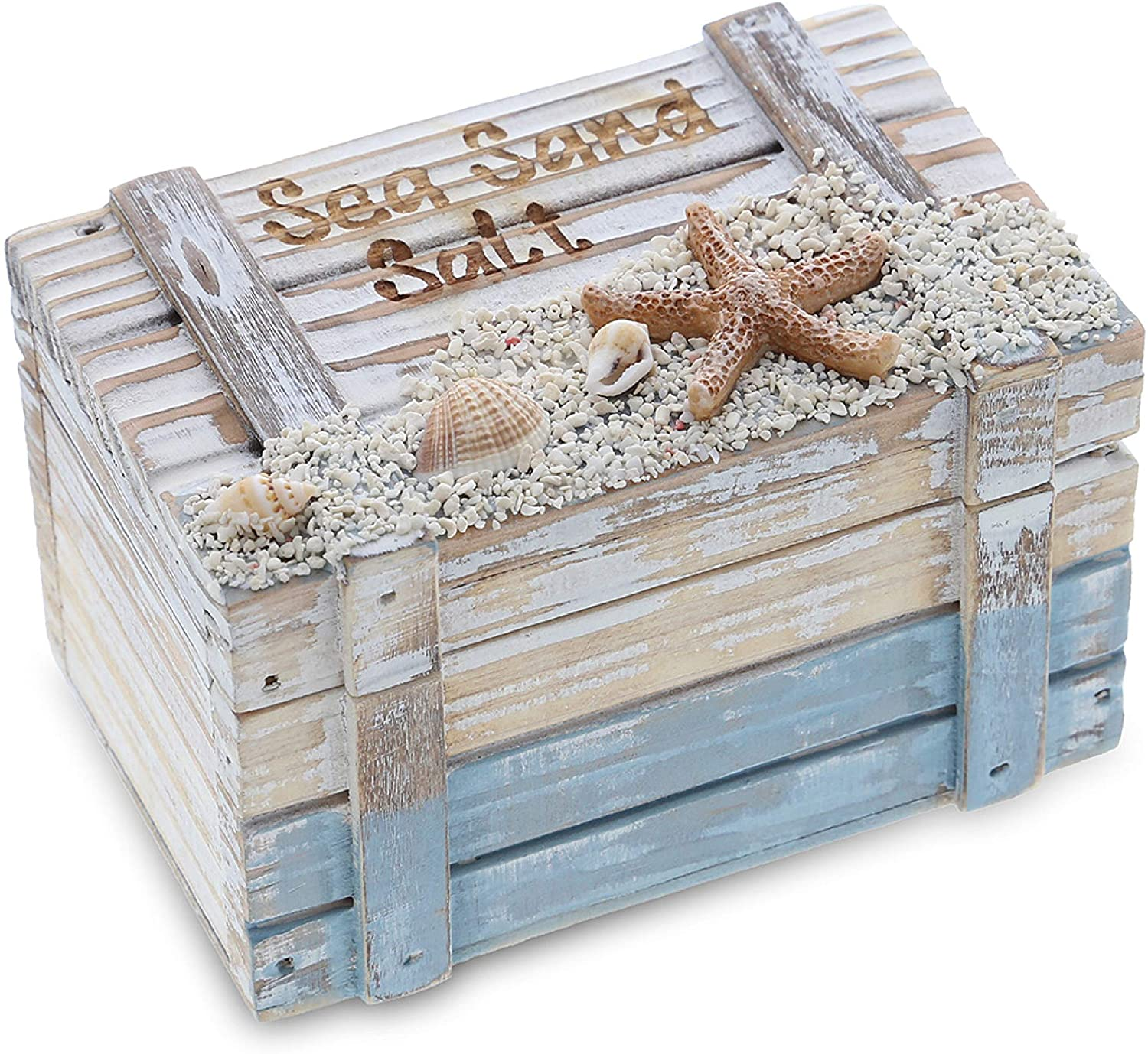 CoTa Global Coastal Horizon Wooden Nautical Jewelry Box 4.25 Inch, Rustic Nautical Decor Trinket Storage with Hinged Lid, Beach Theme Decor & Ocean Party Decorations, Beach Decor for Bedroom & Home