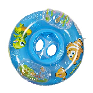 SwimSchool Aquarium Baby Boat, Activity Center, Safety Seat, Inflatable Pool Float, 6 to 18 Months, Blue
