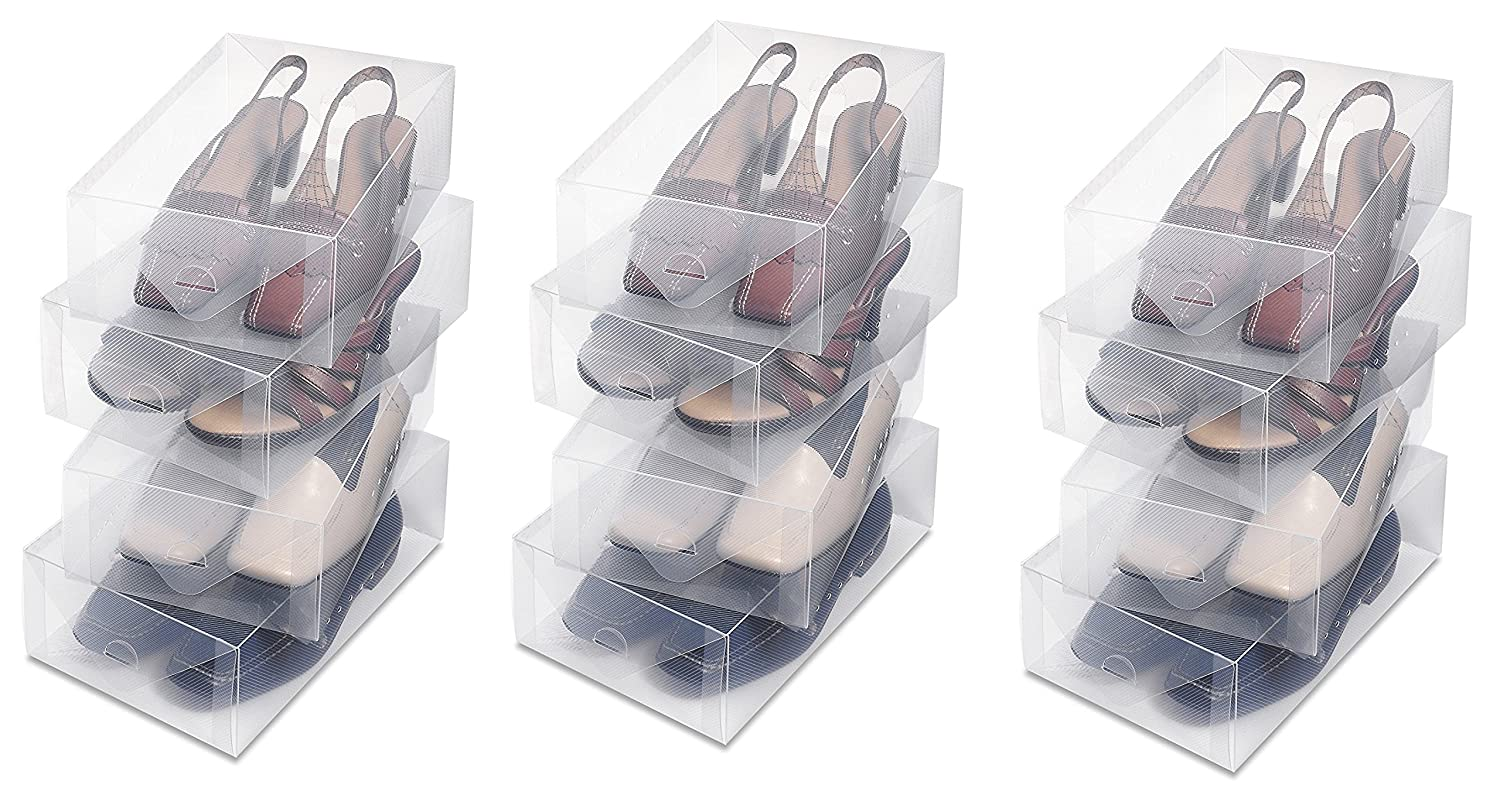 Whittmor Clear Vue Shoe Box - Heavy Duty Stackable Shoe Storage - (12 Shoe Boxes)