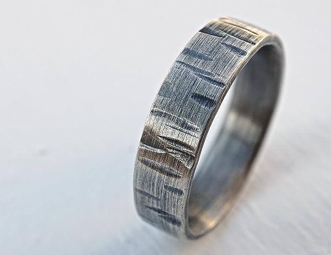 Amazon Com Birch Tree Ring Silver Nature Wedding Ring Driftwood