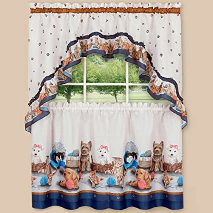 Sweet Home Collection 3 Piece Kitchen Curtain Set Precious Pets Design With Tier Pair And Swag 36 Navy