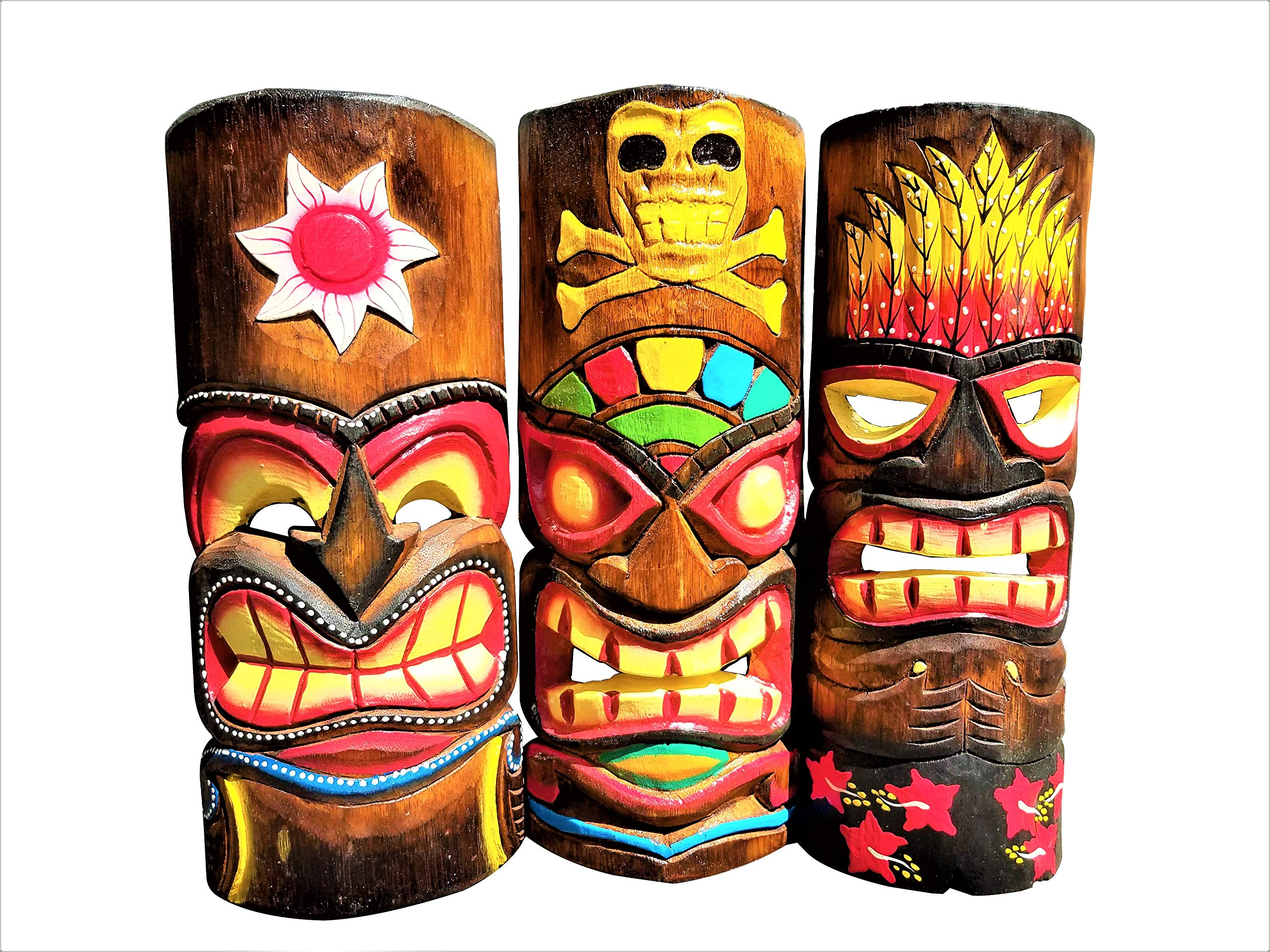 All Seas Imports Set of (3) Wooden Handcarved 12'' Tall Tiki Masks Tropical Wall Decor! by All Seas Imports
