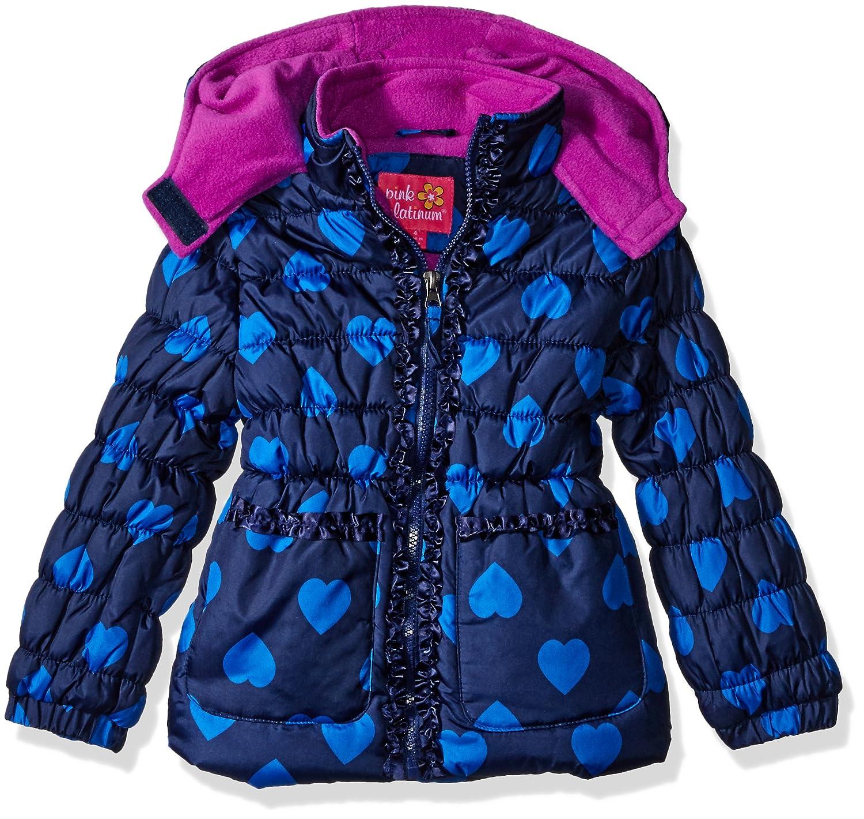 Pink Platinum girls Tonal Heart Print Puffer Jacket 74308