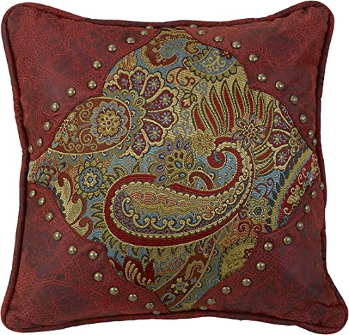HiEnd Accents San Angelo Leather Western Pillow, Paisley