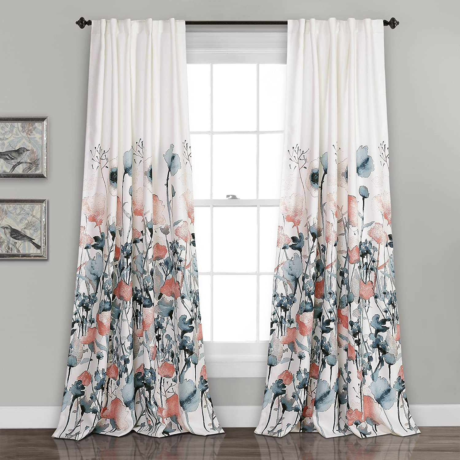 Amazon Com Lush Decor Zuri Flora Curtains Room Darkening Window Panel Set For Living Dining Bedroom Pair 84 X 52 Blue And Coral 2 Count Home Kitchen