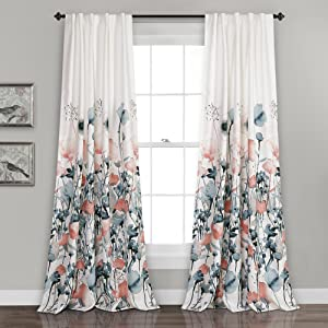 "Lush Decor Zuri Flora Curtains Room Darkening Window Panel Set for Living, Dining, Bedroom (Pair) 84"" x 52"" Blue and Coral"