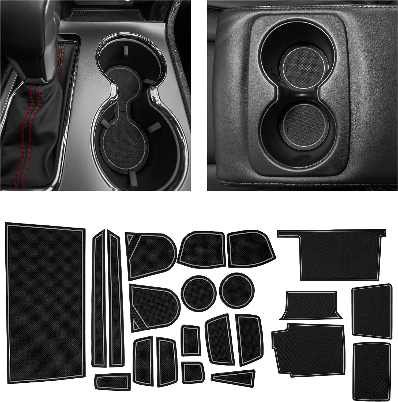 CupHolderHero fits Jeep Grand Cherokee Accessories 2014-2020 Premium Custom Interior Non-Slip Anti Dust Cup Holder Inserts Center Console Liner Mats Gray Trim Door Pocket Liners 25-pc Set