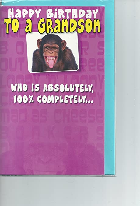 Funny Grandson Birthday Cards Joke Card Ape 100 Nuts Amazon