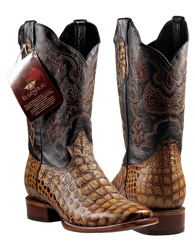 El General Mens Cowboy Rodeo Boots Caiman Print Cognac Imitacion Caiman